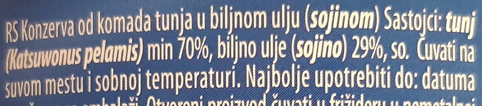 Tuna komadi u biljnom ulju - Ingredienti - sr