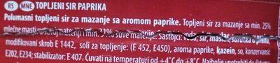 Premium topljeni sir - paprika - Ingrédients