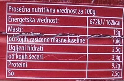 Premium topljeni sir - paprika - Informations nutritionnelles