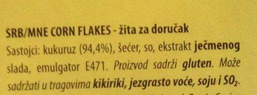 Corn flakes - Ingredients - sr