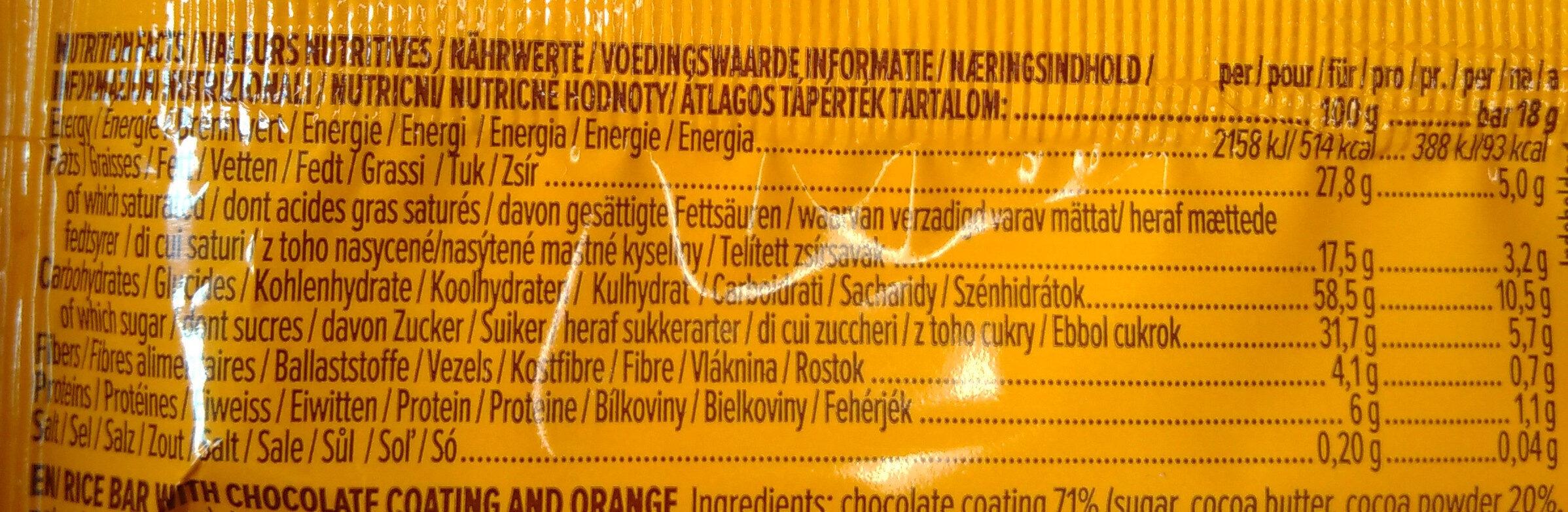 Rocky rice choco orange - Voedingswaarden - fr