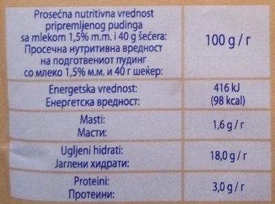 Puding čoko-nugat - Nutrition facts - sr
