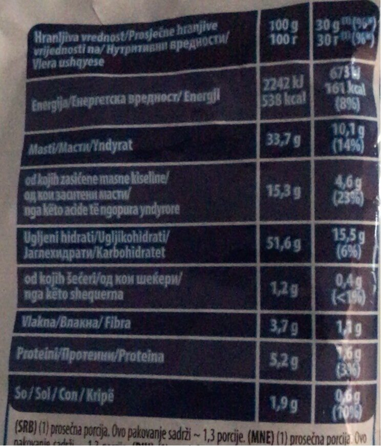 Chipsy Sticks - Nutrition facts - sr