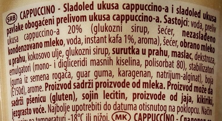 Cappuccino čašica - Ingredients - sr