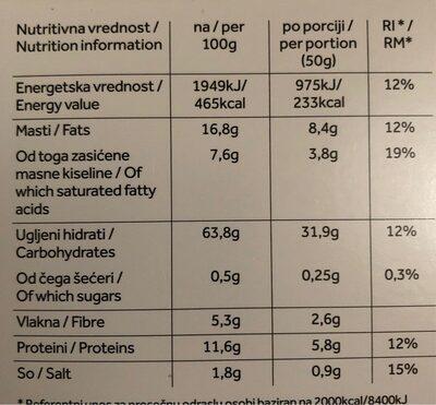 Hrskave lanene pločice - Nutrition facts - fr