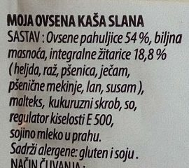 Moja ovsena kaša slana - Ingredients - sr