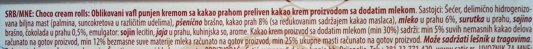Choko cream rolls - Inhaltsstoffe - sr