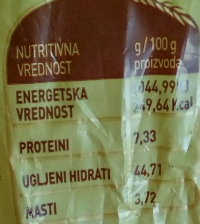 Moravski hleb - Nährwertangaben - sr