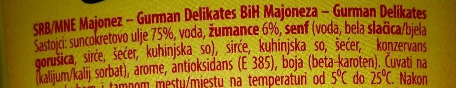 Gurman majonez delikates - Ingredients - sr