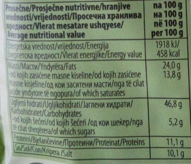 Krem supa od spanaća - Nutrition facts - sr