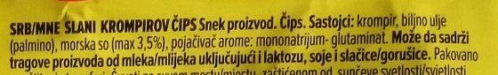 Čačanski chips jadranska so - Ingredients - sr