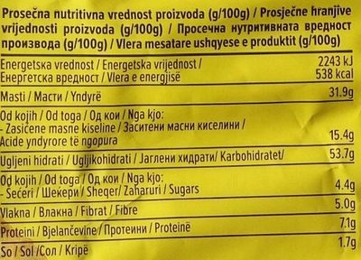 Čačanski čips leskovačka paprika - Informations nutritionnelles