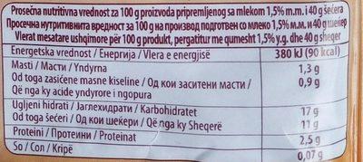 C Puding karamel - Nutrition facts - sr