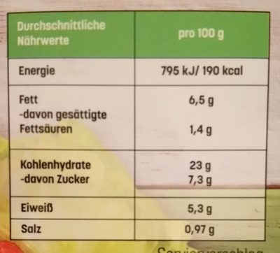 Veganer Bulgur Snack - Informations nutritionnelles