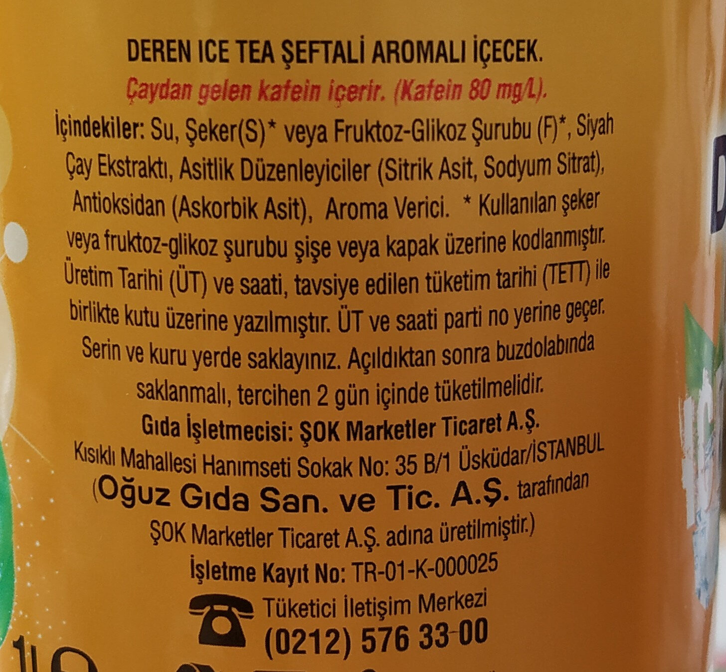 ICE tea - Ingredients
