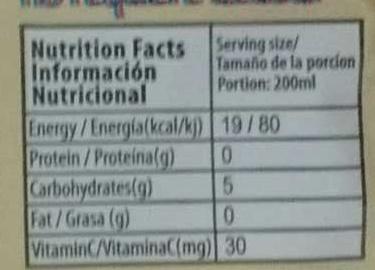 Boisson en poudre Mangue - Informations nutritionnelles