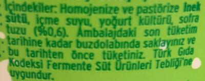 Ayran - Ingrediënten - tr