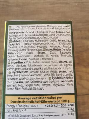 falafel mix - Ingrédients - tr