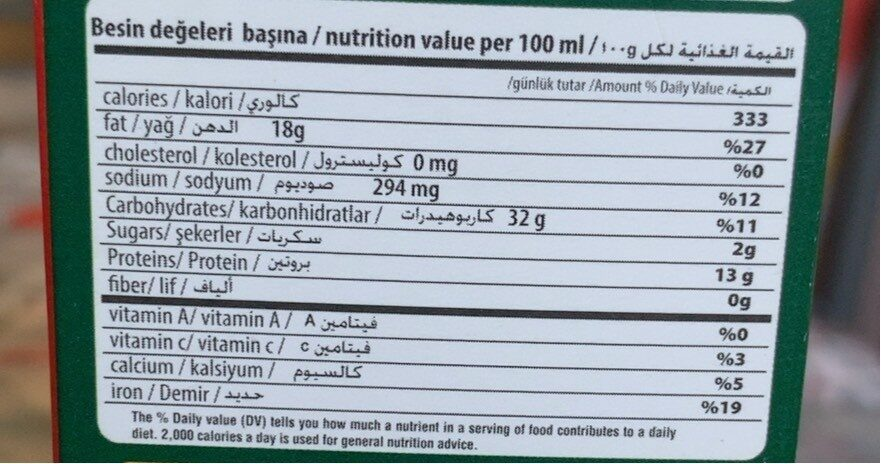 falafel mix - Informations nutritionnelles - fr