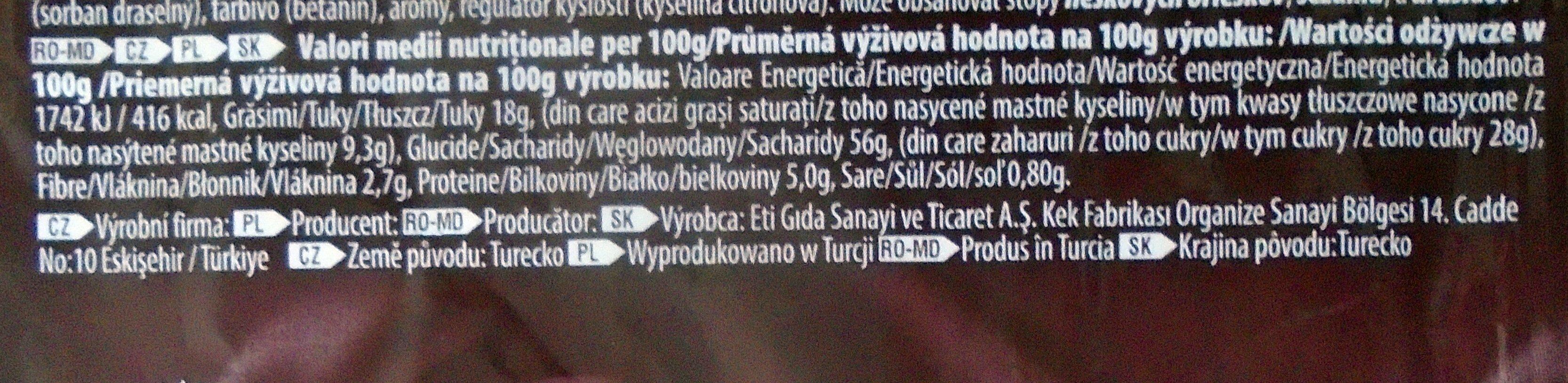 Adicto Go Prăjitură cu cremă de capșuni - Wartości odżywcze - pl