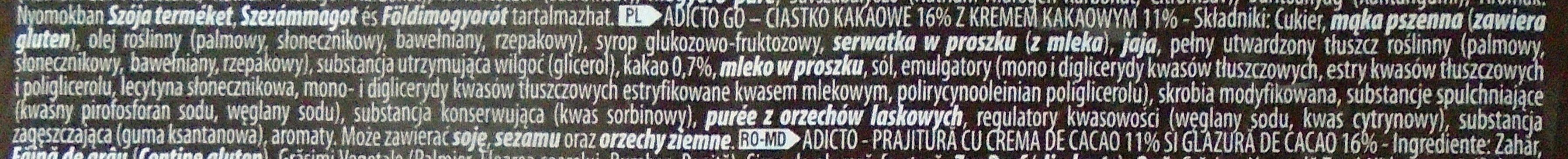 Adicto Go Prăjitură cu cremă de cacao și glazură de cacao - Składniki - pl