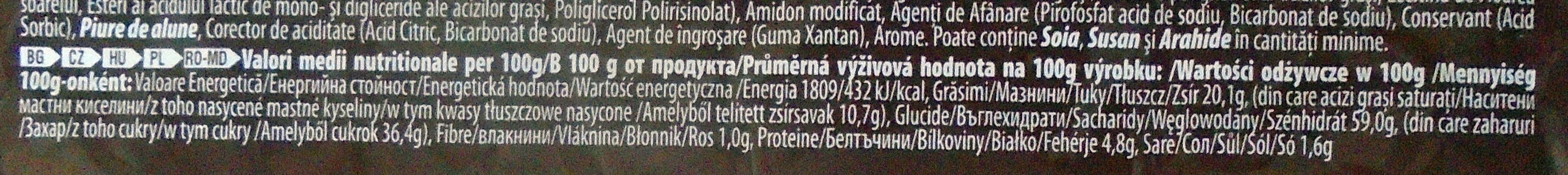 Adicto Go Prăjitură cu cremă de cacao și glazură de cacao - Wartości odżywcze - pl