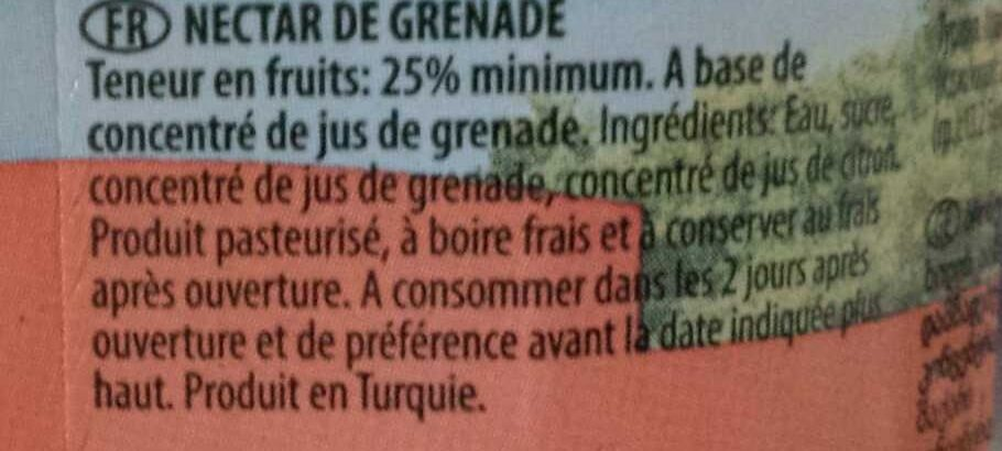 Active Pomegranate Nectar - Ingrediënten - fr