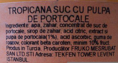 Tropicana Suc de portocale, cu pulpa - İçindekiler