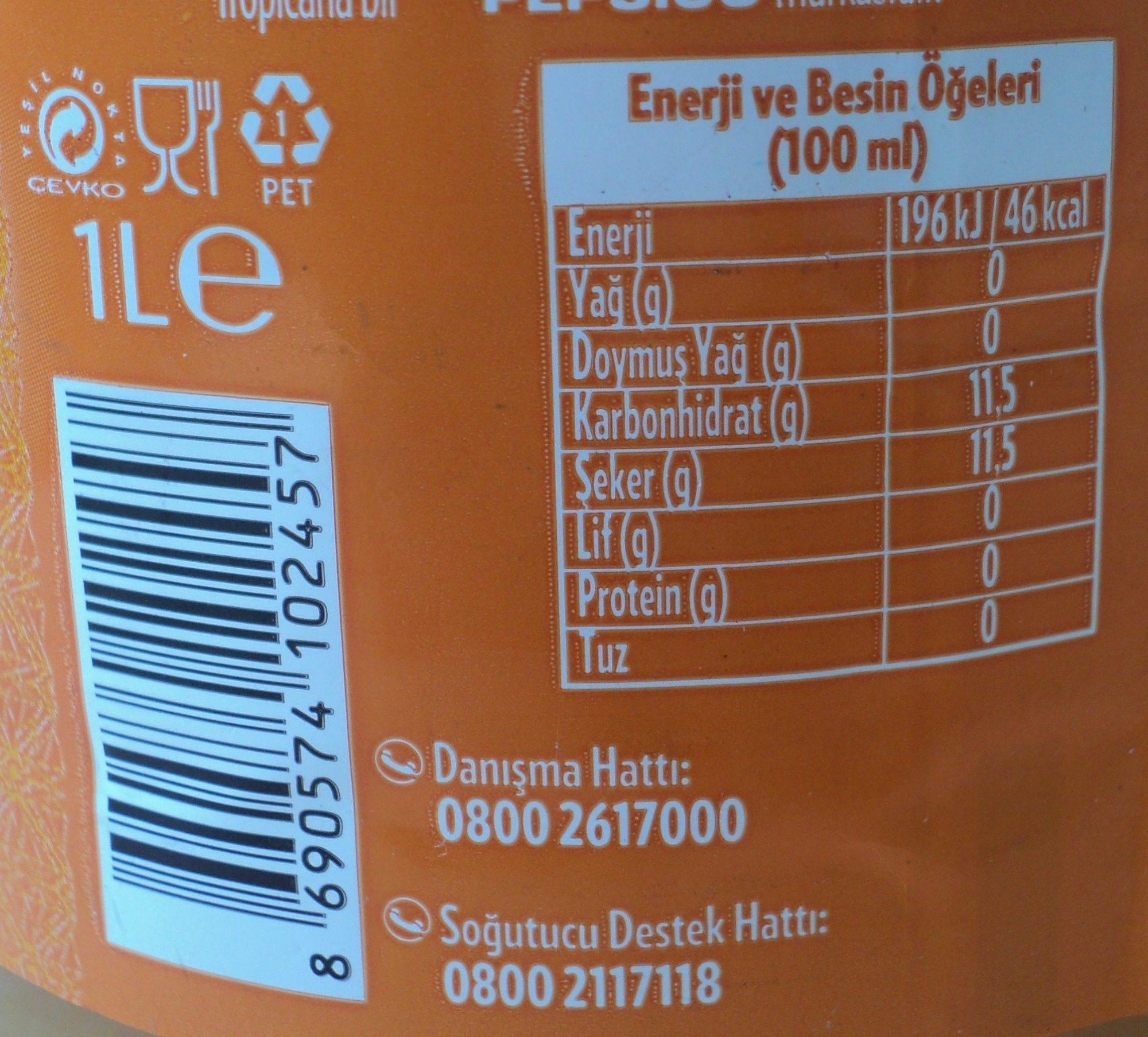 Tropicana Suc de portocale, cu pulpa - Beslenme gerçekleri