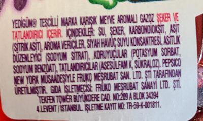Karısık meyve aromalı gazoz - Ingrediënten - tr