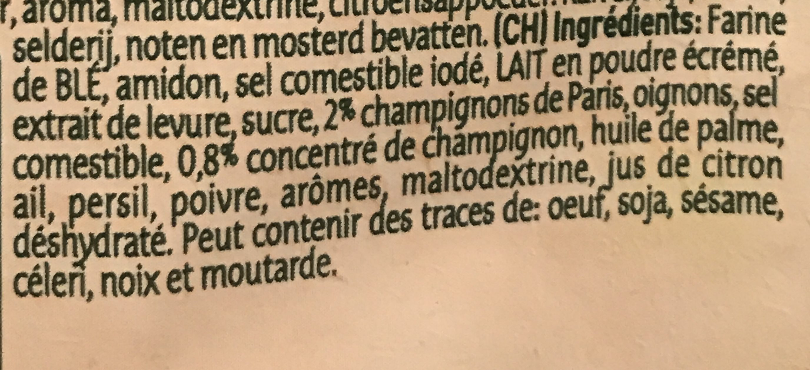 Knorr Champignon soup - Ingrediënten