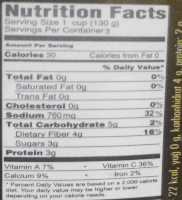 Delikatessen Sauerkonserven - Beslenme gerçekleri