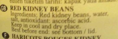 Rote Kidney Bohnen - Ingredients