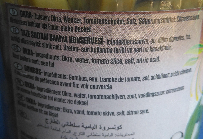 Baktat Mediterranean Products Okra - Ingrediënten - fr