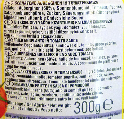 Aubergines grillées à la sauce tomate - Ingrediënten - fr