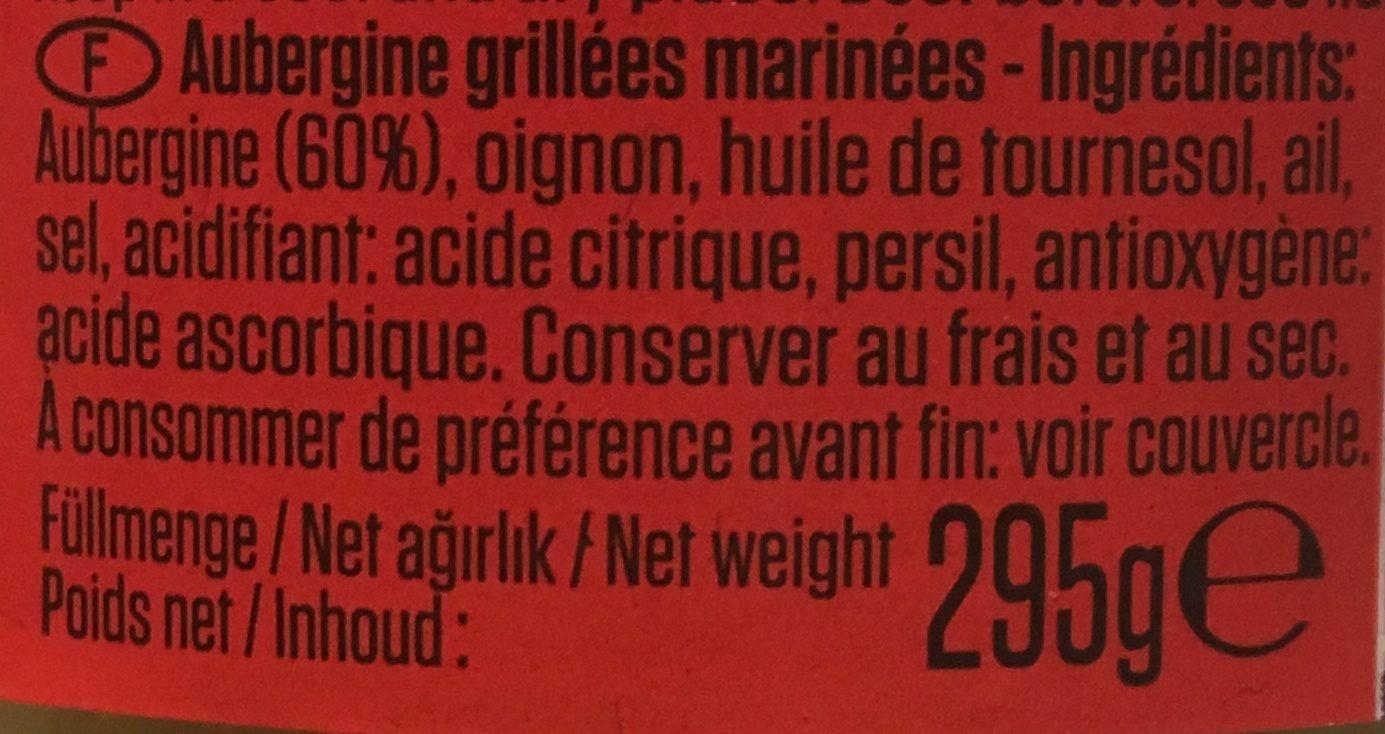 Aubergines grillées - Ingrediënten