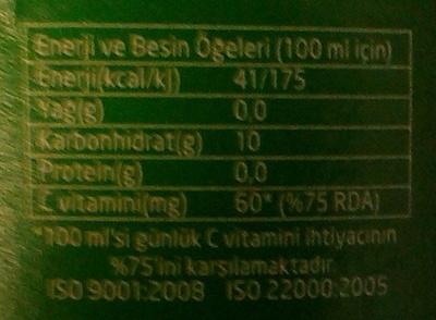 Vitaminli Limon Aromali - İçindekiler