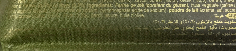 Crackers olive et thym - İçindekiler - en