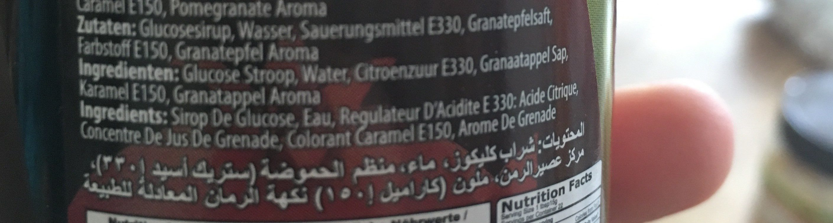 Melasse Arome De Grenade 33 CL Oncu X 12 Arev - Ingredients