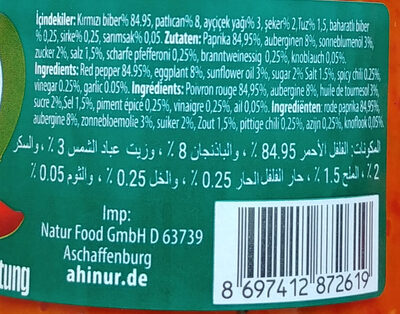 Ajvar mild - Paprika-Gemüsezubereitung - Ingredients