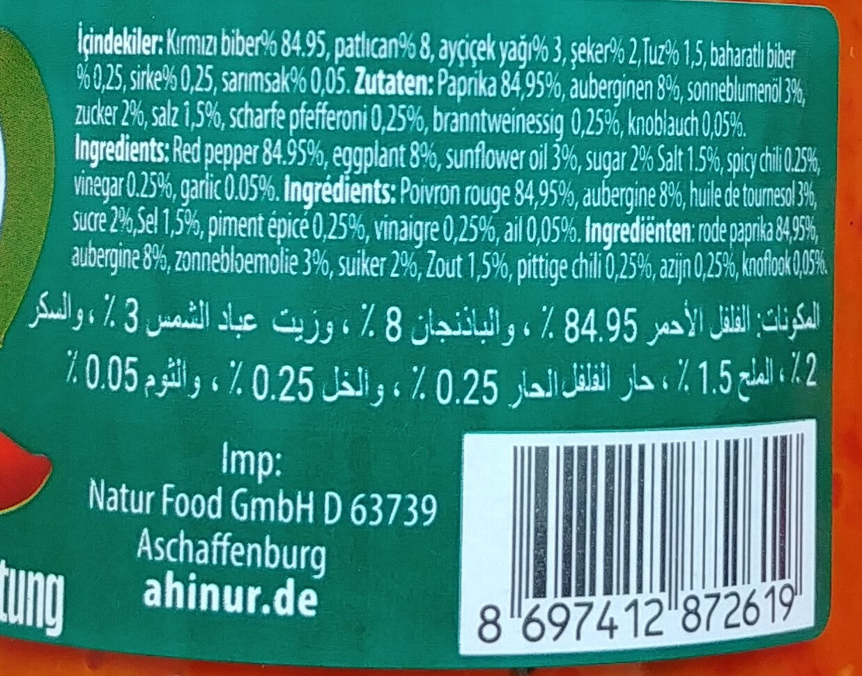 Ajvar mild - Paprika-Gemüsezubereitung - Ingredients - de