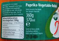 Ajvar mild - Paprika-Gemüsezubereitung - Nutrition facts - de