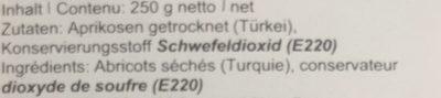 Abricots séchés - Ingredients - fr