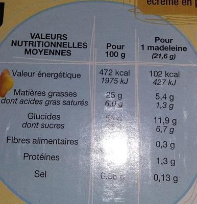 Madeleines chocolait - Informations nutritionnelles - fr