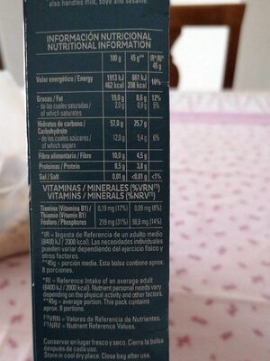 Cruesli frutos secos - Valori nutrizionali - es