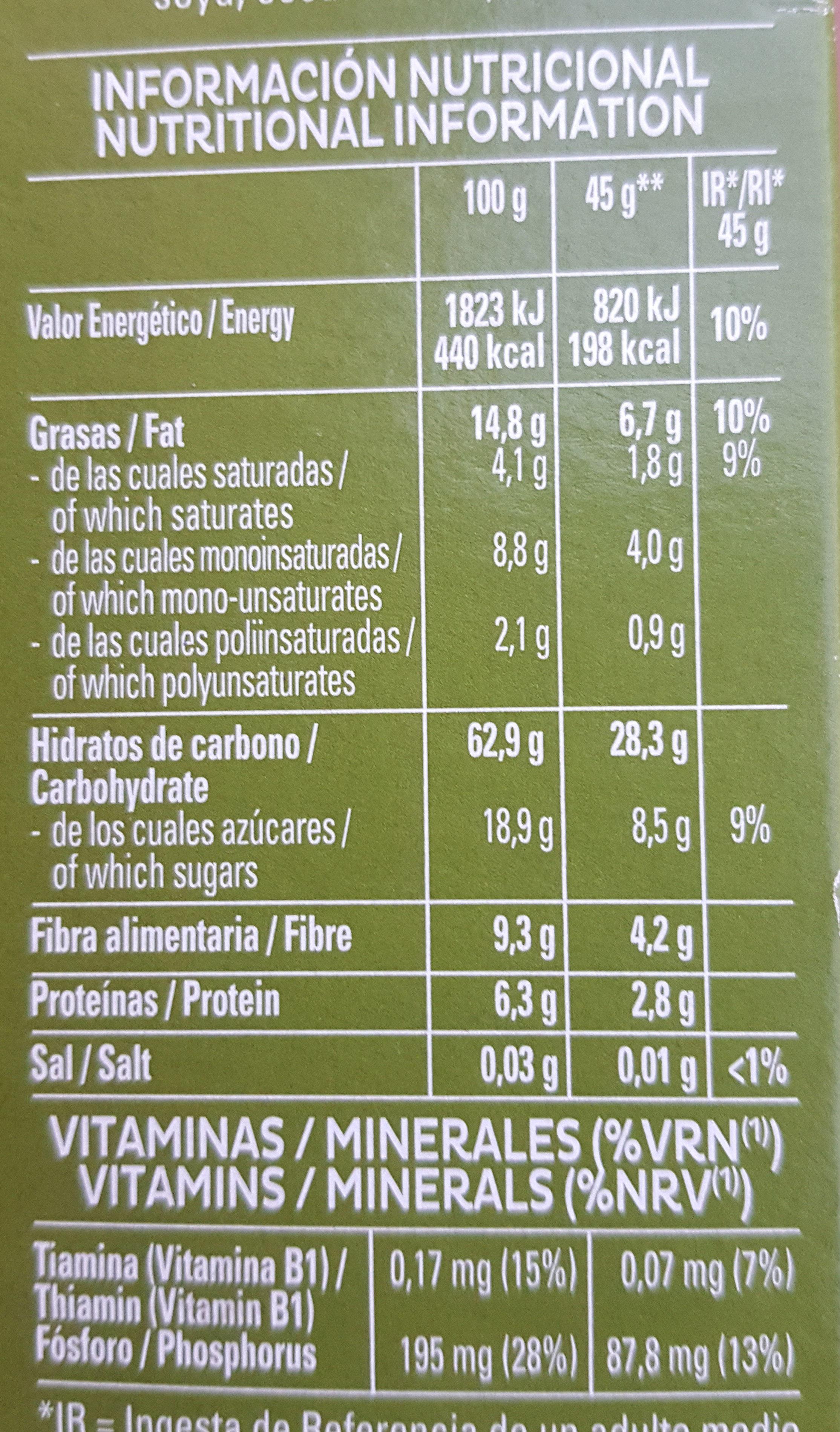 Cruesli Fruta - Información nutricional