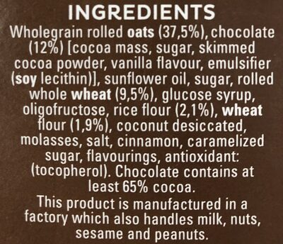 Cruesli Chocolate - Ingredientes