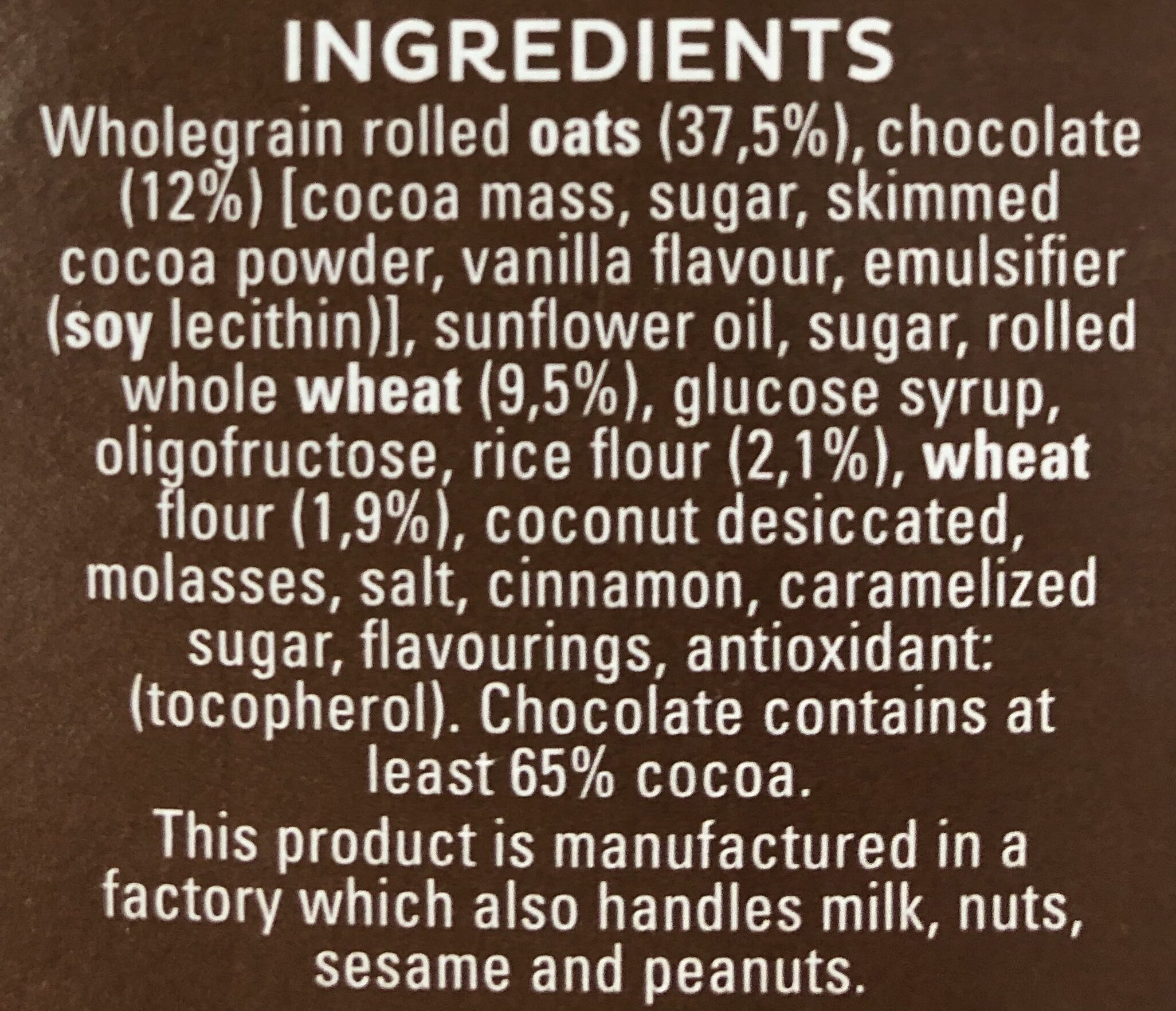 Cruesli Chocolate - Ingredientes - en