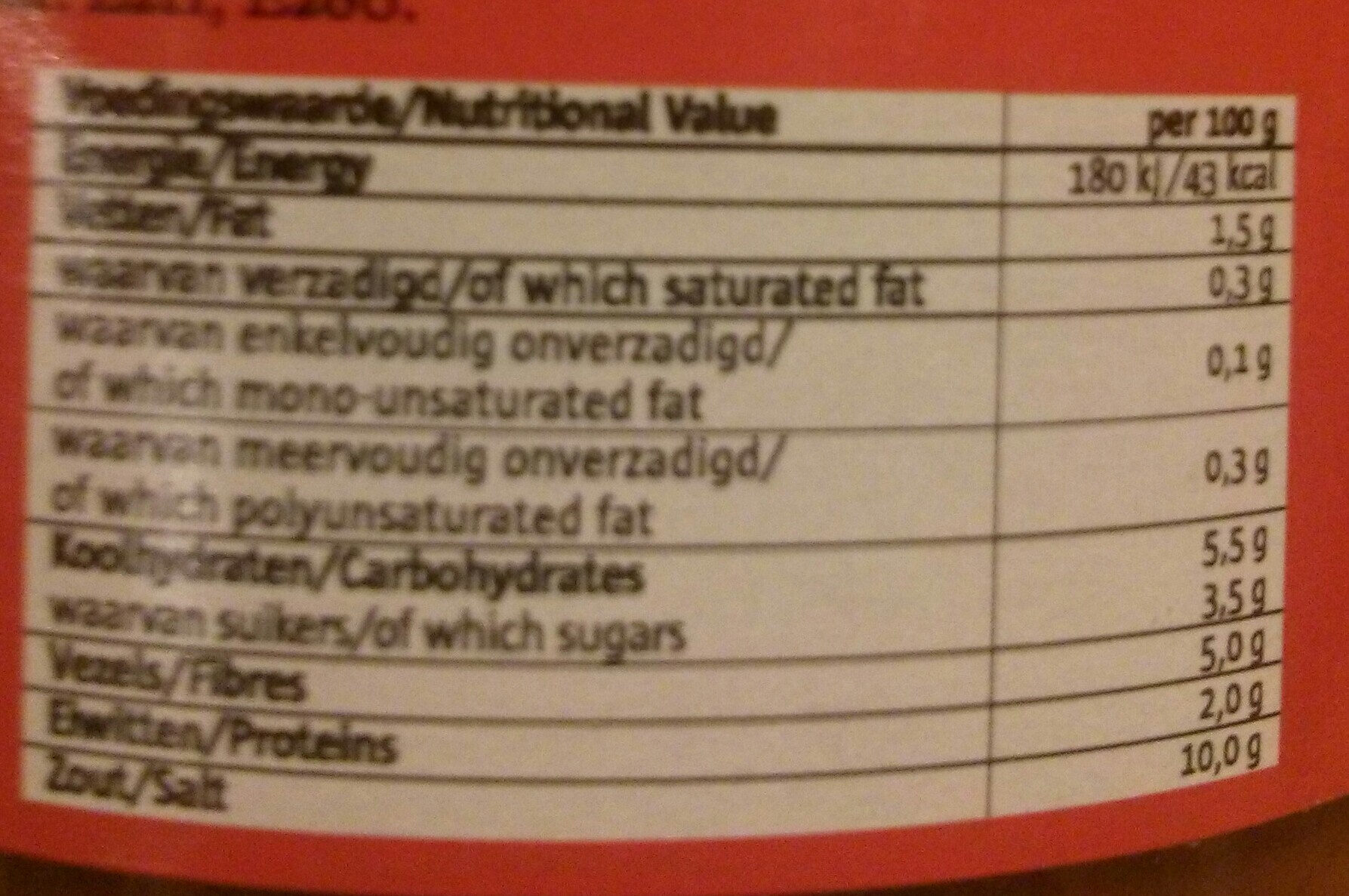 Sambal Rawit Rood - Nutrition facts - nl
