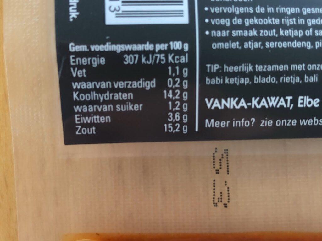 Boemboe Nasi Goreng Kokki Djawa Kopie - Nutrition facts - nl